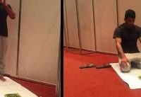 نمازِ حسن یزدانی پیش از فینال + عکس