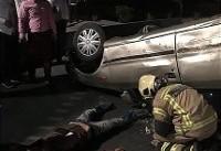 عکس/ واژگونی سمند در سعادت آباد تهران