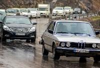 ترافیک سنگین در محور کرج - چالوس/بارش باران در گیلان و مازنداران