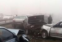 تصادف زنجیرهای بر اثر طوفان شن در اصفهان
