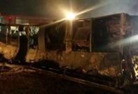 تحویل اجساد جانباختگان حادثه تصادف اتوبوس مسافربری آزادراه نطنز - بادرود