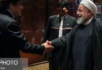 تیپ عجیب رییس جمهور بولیوی در دیدار با روحانی/عکس