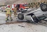 واژگونی پژو ۲۰۶ در بزرگراه خرازی تهران (+تصاویر)