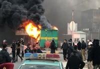 معترضان در بصره کیوسک پلیس را آتش زدند