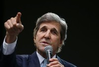 Kerry, at Davos, sends Trump a one-word message: Resign