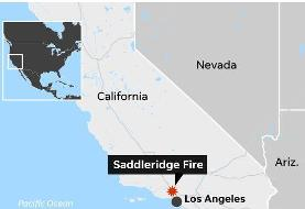 Two dead near Los Angeles as Saddleridge fire forces 100,000 people to evacuate