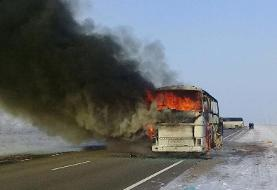 آتش گرفتن اتوبوس حامل زائران حج عمره در عربستان