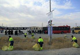 حضور نیروهای داوطلب سمنها برای نظافت مسیر نجف تا کربلا