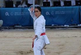 صادقی در کاراته نقره گرفت/ نخستین مدال کاروان ایران به دست آمد