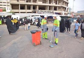 نقش موثر نیروهای شهرداری تهران در نظافت کربلا در ایام اربعین