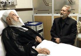 لاریجانی از آیت الله مکارم شیرازی عیادت کرد
