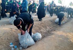 نظافت مسیر نجف تا کربلا توسطنیروهای سازمانهای مردمنهاد