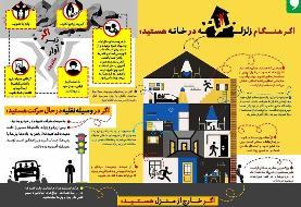 معرفی اقدامات لازم در اتومبیل، خارج و یا داخل خانه هنگام وقوع زلزله +اینفوگرافی