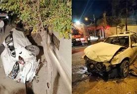 له شدن تیگو ۵ پس از تصادف با ۲ خودرو +عکس