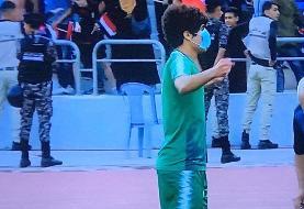 حرکت سیاسی صفا هادی پس از به ثمر رسیدن گل اول عراق مقابل ایران