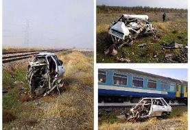 تصاویری از تصادف مرگبار قطار با پراید در قزوین