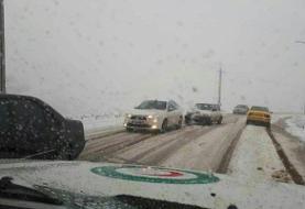 بارش برف و باران در برخی محورهای مواصلاتی کشور