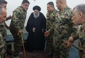 (تصویر) دیدار گروهی از مجروحان ارتش عراق با آیتالله سیستانی