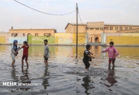 بارندگی شدید خیابانهای خوزستان را به استخر تبدیل کرده است