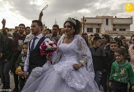 (تصاویر) جشن ازدواج زیر آتش جنگ سوریه