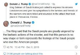عذرخواهی تلفنی پادشاه سعودی از ترامپ به خاطر تیراندازی نظامی سعودی در آمریکا