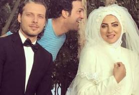 حضور هلیا امامی در لباس عروس کنار اشپیتیم آرفی