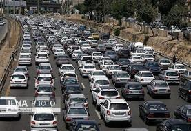 ترافیک سنگین در آزادراه کرج - تهران