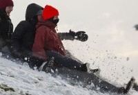 Skis, sleds, laundry baskets ... kayaks? Seattle residents take advantage of record snow