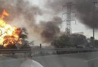 انفجار لولههای گاز در آزادراه اهواز - ماهشهر