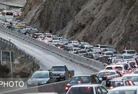ترافیک سنگین جادههای منتهی به شمال / بارش برف در برخی محورها