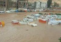 کانکس زلزله زدگان سرپل ذهاب در سیل غرق شد +عکس