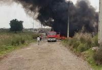 خط سراسری انتقال بنزین در شوش آتش گرفت