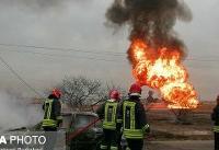 آتشسوزی خط لوله نفت در محدوده بین شوش و اندیمشک