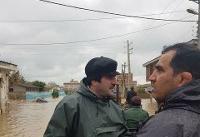 حضور رسول خادم و قهرمانان کشتی در مناطق سیل زده آققلا