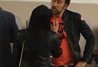 دعوای جنجالی هنرپیشه سرشناس با همسرش در انظار عمومی(عکس)