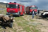 ۴ کشته و ۳ مصدوم در تصادف نیسان و پیکان+عکس