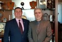 ملاقات سفیر کشورمان با رئیس جدید فدراسیون فوتبال بلاروس