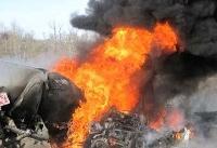 کانتینر حامل روغن در مرز تمرچین پیرانشهر در آتش سوخت