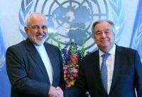 رایزنی ظریف با گوترش درمورد محدودیتهای اخیر آمریکا برای دیپلماتهای ایرانی