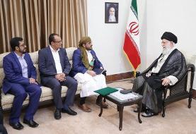 (عکس) دیدار سخنگوی جنبش انصارالله یمن با رهبر انقلاب