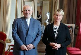 دیدار ظریف با وزیر خارجه سوئد (+عکس)