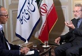 دفاع لاریجانی از برجام/ به چالش کشیدن خبرنگار آمریکایی درباره مذاکره