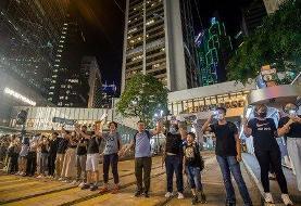 Hong Kong protesters form 30 mile human chain asUK warns tourists of mobile phone checks at ...