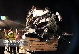 برخورد اتوبوس با کامیون یک کشته و ۶ مجروح بر جای گذاشت