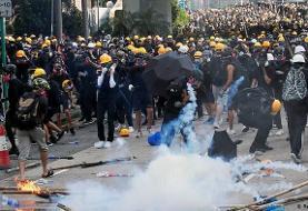 تظاهرات معترضان در هنگکنگ بار دیگر به خشونت کشیده شد
