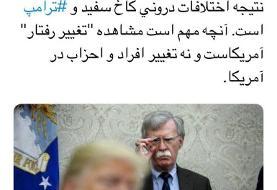 واکنش مشاور لاریجانی و یک عضو جبهه پایداری به اخراج بولتون توسط ترامپ