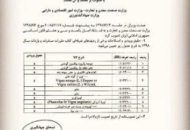حقوق ورودی ۱۰ ردیف تعرفه کالایی تعیین شد