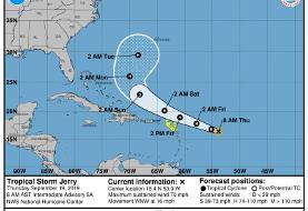 Jerry likely to become hurricane as it passes Puerto Rico; Humberto knocks out power in Bermuda