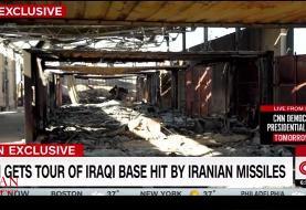 نخستین فیلم از لحظه اصابت موشکهای سپاه به عین الاسد از داخل پایگاه