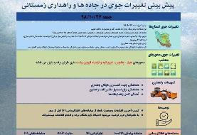 برف و باران در در راه کشور: تهران برفی میشود، بارشها در غرب و جنوب غرب شدت می یابد